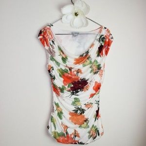 H&M Floral Ruched Cowl Neck Sleeveless Top